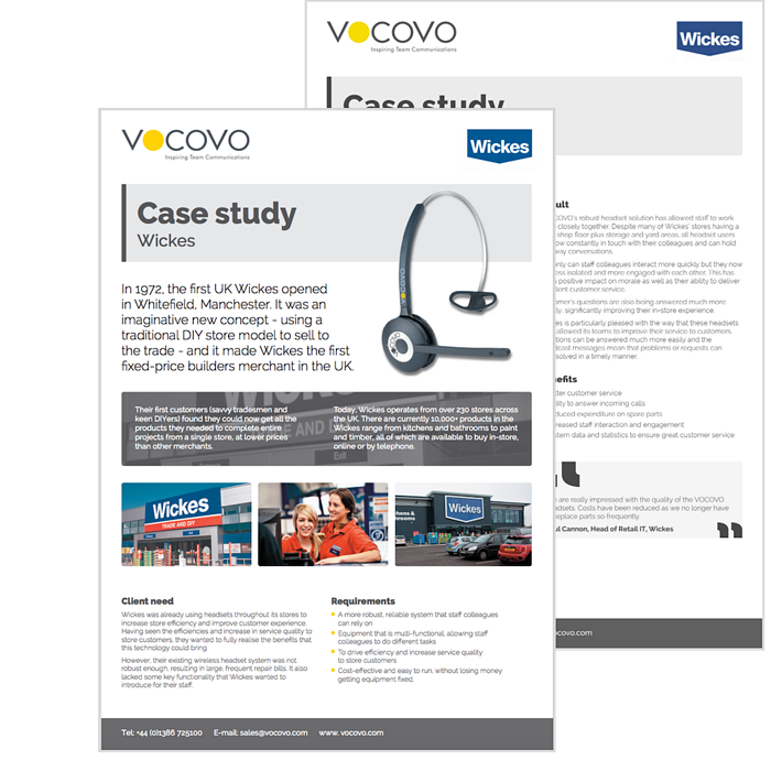 Wickes VOCOVO case study